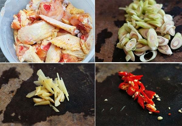 Sơ chế nguyên liệu món gà xào sả ớt