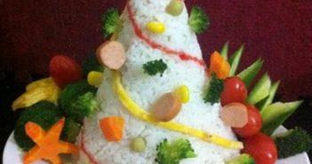 Cách làm cây thông Noel bằng cơm đơn giản đón Giáng sinh 5