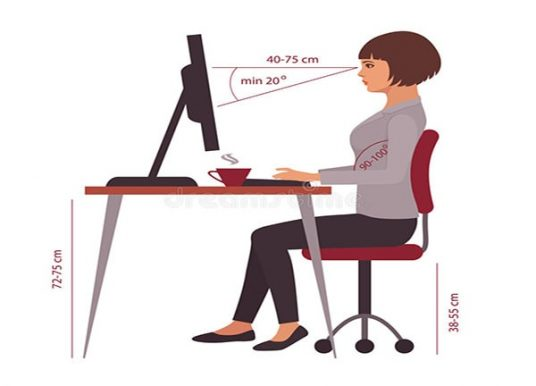 Khoảng cách từ mắt đến màn hình máy tính không gây nhức mắt