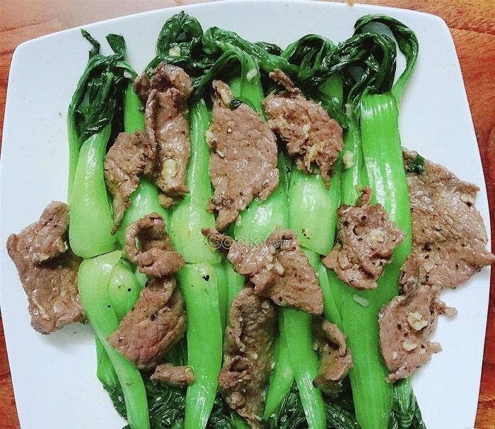 Món thịt bò xào cải chíp thơm lừng hấp dẫn