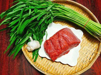 Nguyên liệu làm món thịt bò xào rau muống