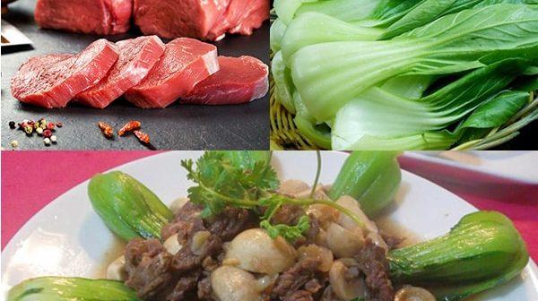 thịt bò xào rau cải chíp