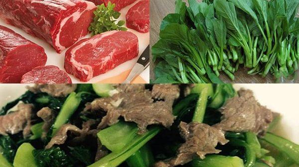 thịt bò xào rau cải ngồng