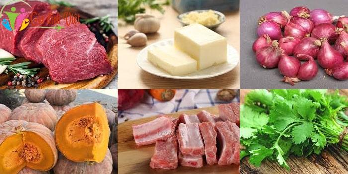 Nguyên liệu làm món bí đỏ thịt bò