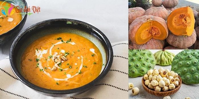 Cách nấu súp bí đỏ cho bé ngon với hạt sen