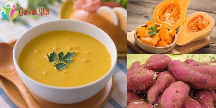 Cách nấu súp bí đỏ cho bé ngon với khoai lang