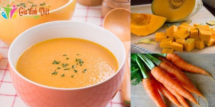Cách nấu súp bí đỏ cho bé ngon với cà rốt