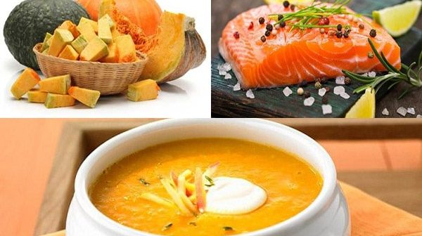 Cách nấu súp bí đỏ cá hồi